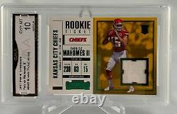 2017 Contenders Patrick Mahomes II Rookie Ticket Jersey Card Graded 10
