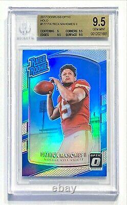 2017 Donruss Optic PATRICK MAHOMES II 177 Holo Silver Prizm Rated Rookie BGS 9.5