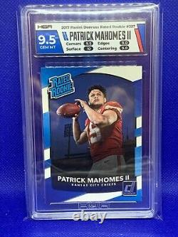 2017 Donruss Rated Rookie PATRICK MAHOMES II #327 HGA 9.5 GEM MINT with 10