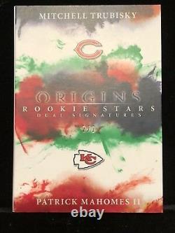 2017 Origins Patrick Mahomes RC AUTO 2/2 ROOKIE DUAL SIGNATURES Booklet ON CARD