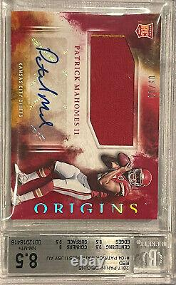 2017 PATRICK MAHOMES Rookie Patch Auto Panini Origins RED /99 2 Color Patch