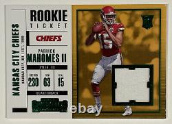 2017 Panini Contenders Patrick Mahomes II RC Rookie Ticket Patch Relic #SW-3