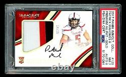 2017 Panini Immaculate PATRICK MAHOMES #14/25 Gold Rookie Patch Auto PSA 7/8 NM