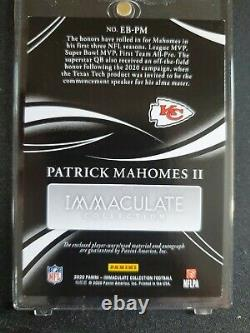 2020 Immaculate Patrick Mahomes II 3 Clr Patch Eye Black Auto 5/5 GOLD