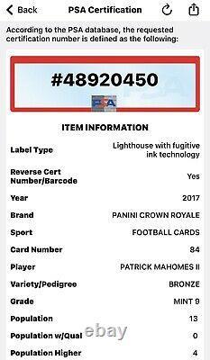 /299 POP 13 RC Patrick Mahomes 2017 Crown Royale BRONZE #84 Rookie PSA 10 snub