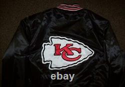 KANSAS CITY CHIEFS Throw Back STARTER Jacket BLACK S M L XL 2X