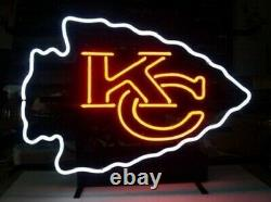 KC Kansas City Chiefs Neon Light Sign 14x10 Beer Cave Gift Real Glass