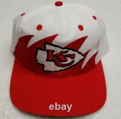 LOT 2 Vintage Kansas City Chiefs Sports Specialties Script Logo 7 Sharktooth Hat