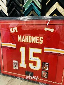 Patrick Mahomes Autographed & Framed Red & White Chiefs Jersey GA COA PSA 10