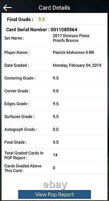 Patrick Mahomes II 2017 Donruss Rated Rookie Press Proof Bronze RC BGS 9.5