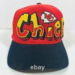 Vintage Kansas City Chiefs Graffiti Snapback Hat Team NFL Drew Pearson Big Logo