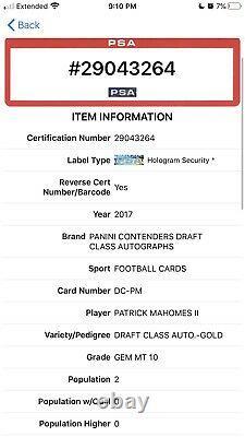 2017 Contenders Patrick Mahomes Rc Auto Gold /17 On Card Autograph Psa 10 Gem