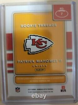 2017 Donruss Optic Rookie Threads Patrick Mahomes II Rc Jersey Chefs