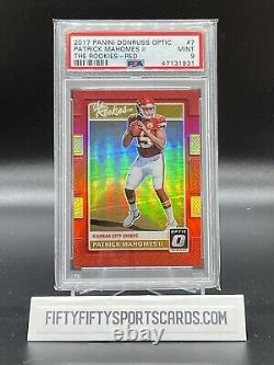 2017 Patrick Mahomes Donruss Optic The Rookies Red Holo /99 Rc Rookie Psa 9 Mint