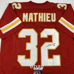 Autographié/signé Tyrann Mathieu Kansas City Red Football Jersey Jsa Coa Auto