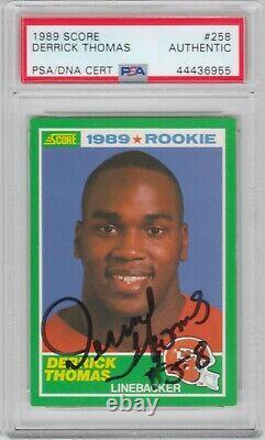 Derrick Thomas Kansas City Chiefs 1989 Score Rc Signed Autograph Psa Dna