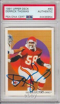 Derrick Thomas Kansas City Chiefs 1991 Deck Supérieur Signé Autographe Psa Adn