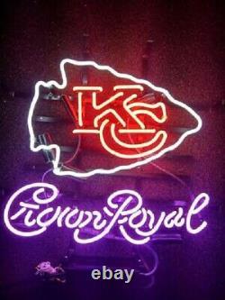 Kansas City Chiefs Crown Royal Neon Signe 20x16 Lampe Légère Bière Bar Decor Verre