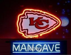 Kansas City Chiefs Homme Cave Neon Lumière Enseigne 14x10 Décoration Murale Barre De Lampe Verre