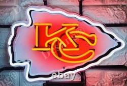 Kansas City Chiefs Lampe Lumière Homme Grotte 17x14 Neon Signe Avec L'impression Vidéo Hd