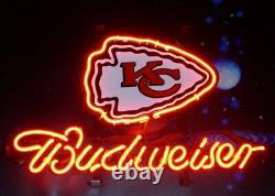Nouveau Kansas City Chiefs Logo Neon Light Sign 14x10 Affichage De La Lampe Bière Décor Bar