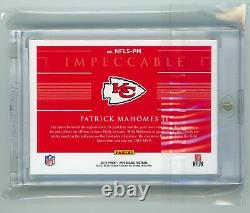 Panini Football Impeccable 2019 Troy Ounce Fine Silver #nfls-pm Patrick Mahomets