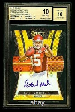 Panini Select Mahomes Rookie Signatures Auto Prizm Gold Die-cut Bgs 10