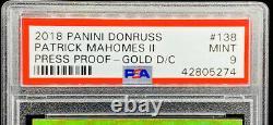 Patrick Mahomes II 2018 Panini Donruss Presse Proof Gold D/c /25 Psa 9 Pop 2
