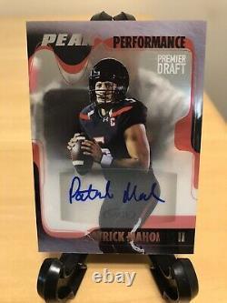 Patrick Mahomes Rookie Autograph 2017 Sage Hit Premier Draft Peak Performance Sp
