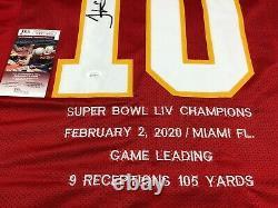 Tyreek Hill Kansas City Chiefs Signé Custom Jersey Super Bowl Statistiques Jsa Coa